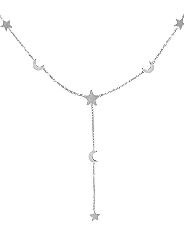 SC Stars & Moon Necklace Silver