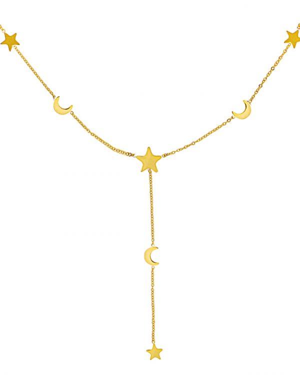 SC Stars & Moon Necklace Goud
