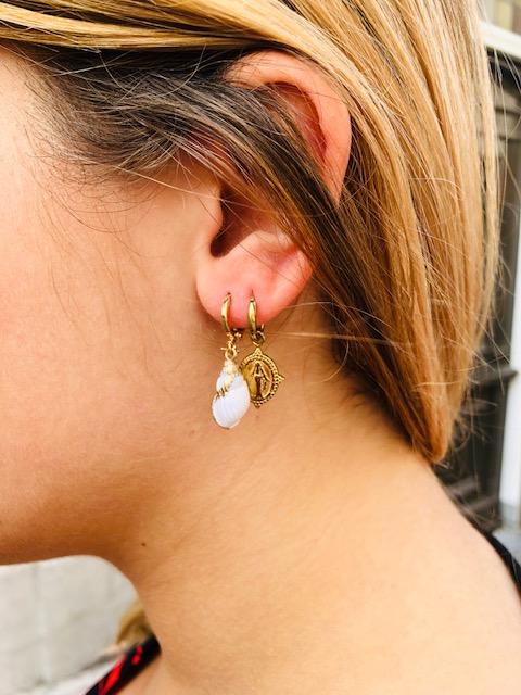 SC Earrings Star Shell Gold