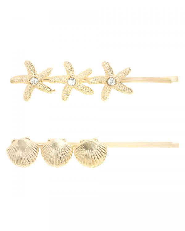 SC Beach Hairclips Gold