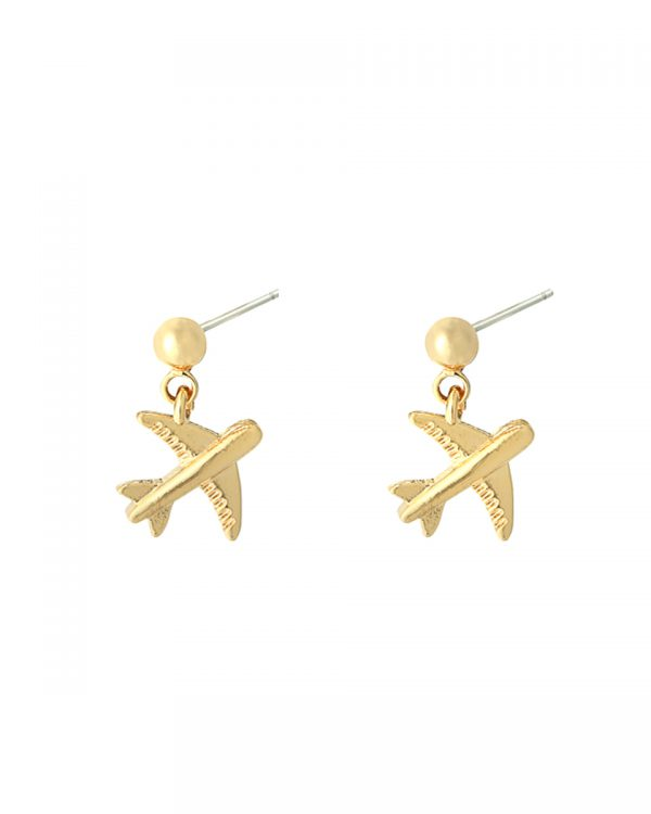SC Airplane Earrings Gold