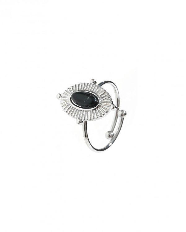 SC Lovely Black Stone Ring Silver